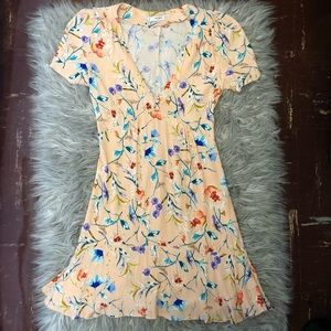 EUC Mango Floral Midi Dress with V-Neck